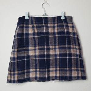 Vintage blue plaid mini skirt